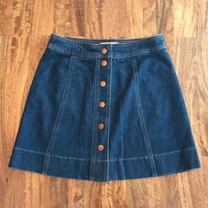 Madewell a-line button front denim skirt
